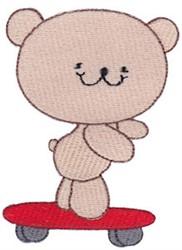 Cute Skateboarding Bear embroidery design
