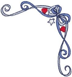 Patriotic Swirling Ribbon, Corner embroidery design