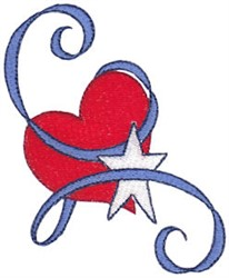 Patriotic Heart & Ribbons embroidery design