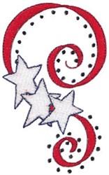 Patriotic Ribbon & Stars embroidery design
