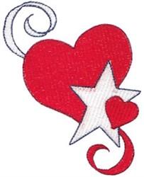 Patriotic Hearts & Star embroidery design