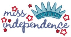 Miss Independence embroidery design