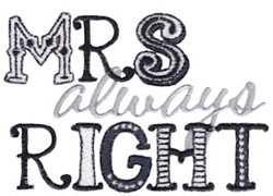 Mrs Always Right embroidery design