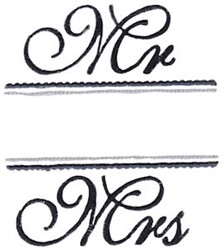 Mr & Mrs Name Drop embroidery design