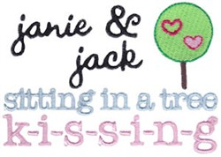 Sitting In A Tree Kissing embroidery design