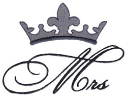 Mrs Crown embroidery design