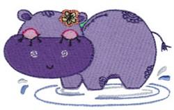 Decorative Hippo embroidery design