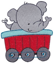 Animal Train & Elephant embroidery design