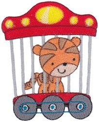 Animal Train & Tiger embroidery design