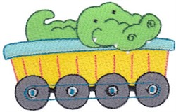 Animal Train & Alligator embroidery design