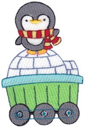 Animal Train & Penguin embroidery design
