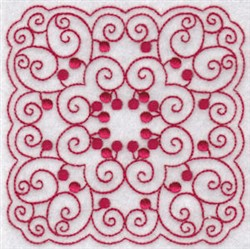 Cherries Quilt Block Redwork embroidery design