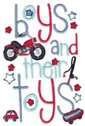 Boys And Their Toys embroidery design