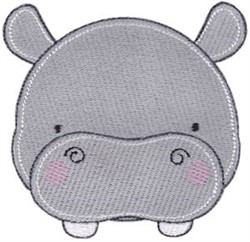 Adorable Hippo Face embroidery design