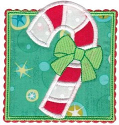 Box Christmas Candy Cane Applique embroidery design