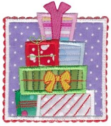 Box Christmas Presents Applique embroidery design