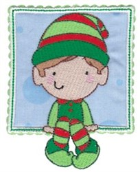 Box Christmas Elf Applique embroidery design