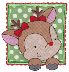 Box Christmas Reindeer Applique embroidery design