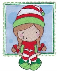 Box Christmas Girl Elf Applique embroidery design