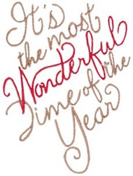Most Wonderful Time Of The Year embroidery design