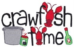 Crawfish Time embroidery design
