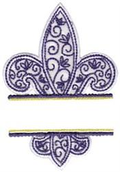 Applique Fleur De Lis Name Drop embroidery design