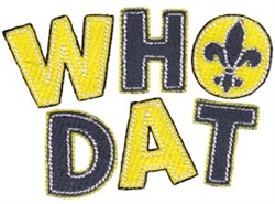 New Orleans Who Dat embroidery design