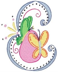 Swirly Easter Butterfly embroidery design