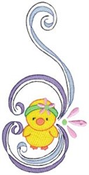 Swirly Easter Duck Border embroidery design