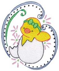 Easter Chick & Swirls embroidery design