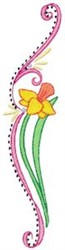 Swirly Easter Daffodil Border embroidery design