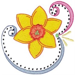 Swirly Easter Daffodil embroidery design