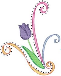 Swirly Easter Tulip embroidery design