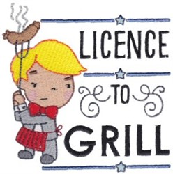 Licence To Grill embroidery design