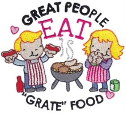 """Eat """"Grate"""" Food embroidery design"""
