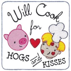 Hogs & Kisses embroidery design