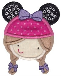 Mouse Eared Little Girl embroidery design