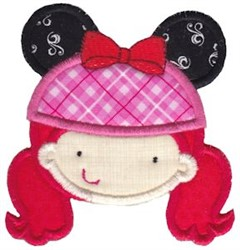 Red Headed Girl Applique embroidery design