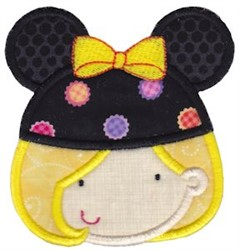 Blonde Girl & Mouse Ears embroidery design