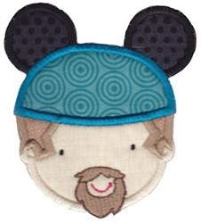 Goateed Man & Mouse Ears embroidery design