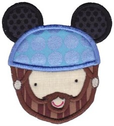 Bearded Man & Mouse Ears embroidery design
