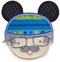 Grandpa With Mouse Ears embroidery design