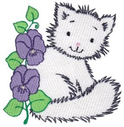 Morning Glory & Kitten embroidery design