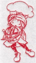 Redwork Wryn Chef embroidery design