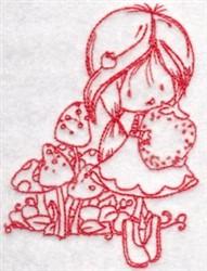 Redwork Wren & Strawberry embroidery design