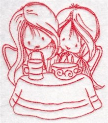 Redwork Wryn Tea Party embroidery design