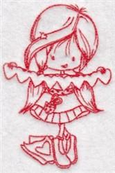 Redwork Wren Valentine embroidery design