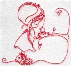 Redwork Wryn & Bird embroidery design