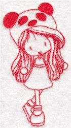 Redwork Wryn Girl embroidery design