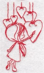 Redwork Wryn & Hearts embroidery design
